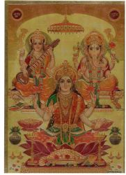 Gravura/litografia . Lakshmi, Saraswati & Ganesha