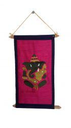 Pergaminho Bordado Ganesha.  Rosa/lilás