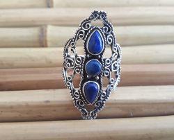 Anel Prata 925 & Lapis Lazuli. Tamanhos 17 & 19