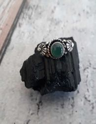 Anel Prata 925 & Coral Verde. Tamanho 15