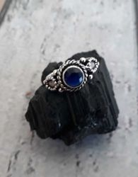 Anel Prata 925 & Safira Azul. Tamanho 14