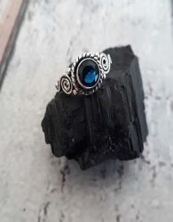 Anel Prata 925 & Safira Azul. Tamanho 12