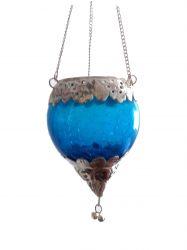 Luminária Gota em Vidro e Metal  Azul