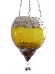 Luminária Gota em Vidro e Metal Amarela