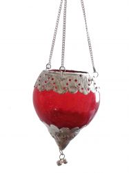 Luminária Gota em Vidro e Metal  Vermelha