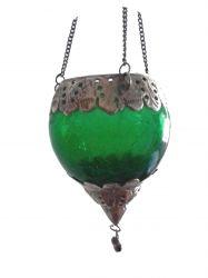 Luminária Gota em Vidro e Metal  Verde