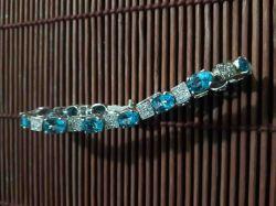 Pulseira Prata 925. Topázio Azul & Zircone
