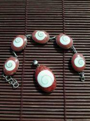 Conjunto Pulseira & Pingente. Ágata & Coral Vermelho