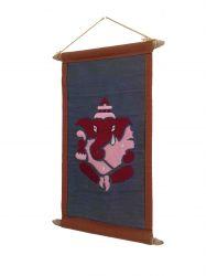 Pergaminho Bordado Ganesha.  Cinza